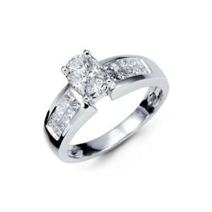 18K White Gold Princess Love/Pie Cuts Diamond Ring Jewelry
