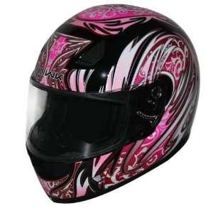 HAWK Black with Pink Full Face Motorcycle Helmet