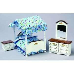 Miniature White & Walnut Double Canopy Bed Set