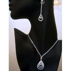 Bridal Wedding Bridesmaid Prom Jewelry Necklace Earrings Set Crystal