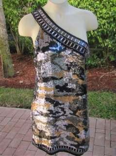 BEBE172492 Asymmetric Sequin Shift Dress black gold