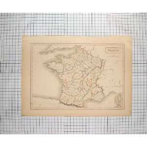 BARTHOLOMEW ANTIQUE MAP 1847 FRANCE BAY BISCAY LYONS