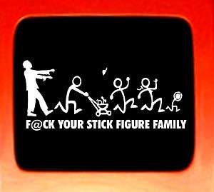 Figure Family STICKER Zombie Nobody Cares FUNNY CAR NEW DECAL