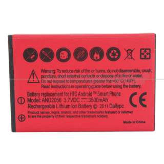 Extended Battery With Red Cover +Charger for Sprint HTC EVO 4G