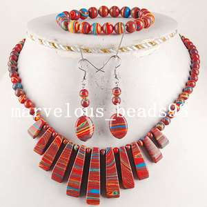39x9x7mm Multicolor Turquoise Beads Necklace Bracelet Earrings Set