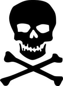 Classic Skull and Crossbones Vinyl Sticker Decal   Choose Size & Color