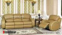 2PC NEW MODERN LEATHER SOFA LOVESEAT w/4 RECLINERS S837