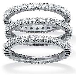 Silver Diamond Accent 3 piece Eternity style Ring Set