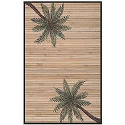 Hand woven Palm Tree Bamboo Rug (6 x 9)