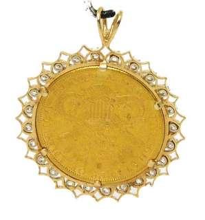 14K GOLD & DIAMONDS 1888 LIBERTY HEAD GOLD COIN PENDANT