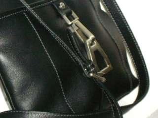 AIGNER Soft Black Leather Cross Body Messenger Bag Purse Handbag EUC