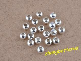 200 Pcs Silver Plated Round Spacer Loose Beads Charms Findings 6mm