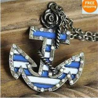 Sailor Style Anchor inlay Crystal Flower Necklace x81 great gift