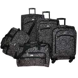 American Flyer Leopard Expandable 5 piece Luggage Set