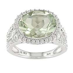 14k White Gold 1/2ctw Diamond Green Amethyst Ring