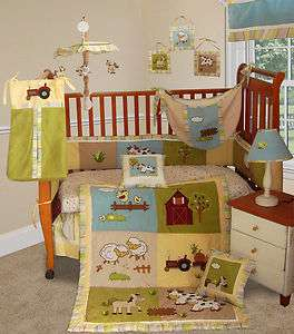 Baby Boutique   On The Farm 14 PCS Crib Nursery Bedding Include Music
