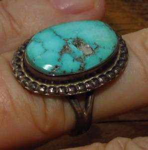 INDIAN STAMPED STERLING SILVER NATURAL KINGMAN TURQUOISE RING 7