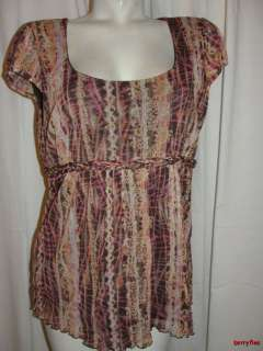 CLAIBORNE Pink Brown Scoop Cap Sleeve Blouse Top Shirt Size XL