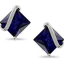 10k White Gold Square Created Sapphire Earrings