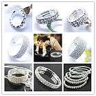 Row Rhinestone Wedding Party Stretch Bangle Bracelet Bling Jewelry
