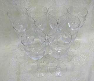 Vintage FOSTORIA Cut GLASS CRYSTAL HOLLY Water GOBLET STEMWARE SET