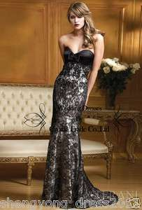 formal Lace prom dress Cocktail party Wedding Bridal Gown evening all