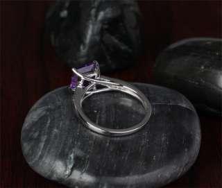 AMETHYST & DIAMOND  14K WHITE GOLD Pave Engagement Wedding RING
