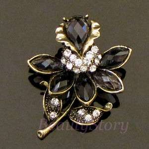 1pc antiqued rhinestone crystal flower brooch pin
