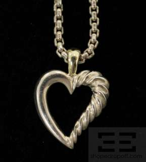 Sterling Silver & 14K Gold Mini Cable Heart Pendant Necklace