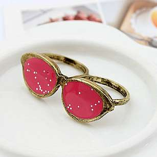 Fashion Punk Style Unique Antique Sunglasses Double Fingers Ring Cool