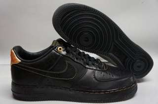 Nike Air Force 1 Low Premium BHM Black Metallic Gold Sneakers Men Size