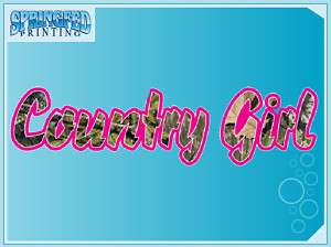 COUNTRY GIRL in Camo Vinyl Decal truck sticker car