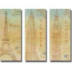 John Zaccheo Travel Monuments 3 piece Canvas Art Set