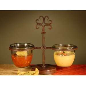 Glass and Rustic Wrought Iron Double Server: Kitchen & Dining