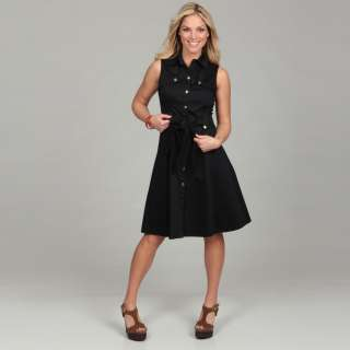 Eliza J Womens Navy Tie waist Shirt Dress