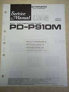 Pioneer Service Manual~PD P910M CD Player~Original~Repair
