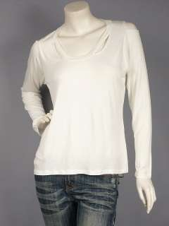 Off White Cut Out Long Sleeve Top T Shirt M
