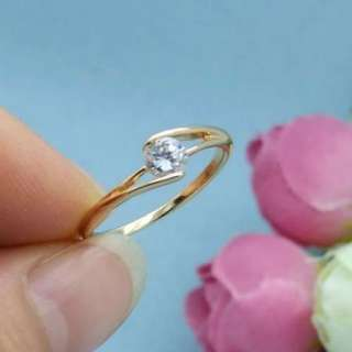 Pink Rose Gold Plated Round CZ Womens Engagement Wedding Ring Jewelry
