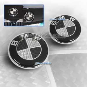 06 Up 3 Series Carbon Fiber Hood Trunk Roundel Emblem Black & Silver