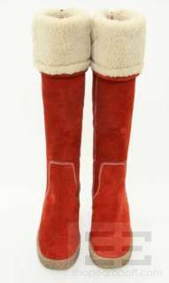 Kors Michael Kors Red Suede Topstitched Shearling Lined Wedge Boots