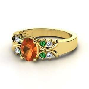 Gabrielle Ring, Oval Fire Opal 18K Yellow Gold Ring with