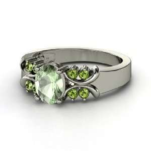 Gabrielle Ring, Oval Green Amethyst 14K White Gold Ring