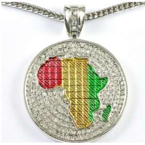 Iced Bling Colored Hip Hop Africa Map CZ Pendant