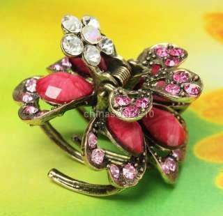 Pink heart petal flower vintage bronze hair claw clip swarovski