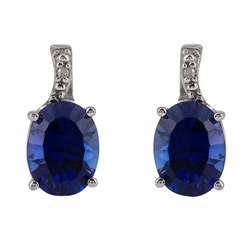 White Gold Created Sapphire and Diamond Stud Earrings