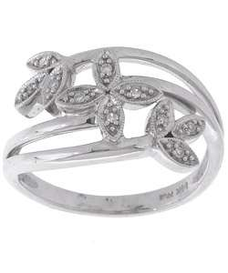 14k White Gold Diamond Flower Fashion Ring