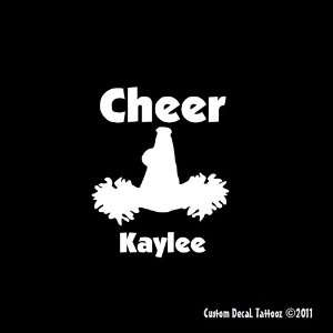 Cheerleader Custom Megaphone Pom Poms Car Window Decal Sticker White 4