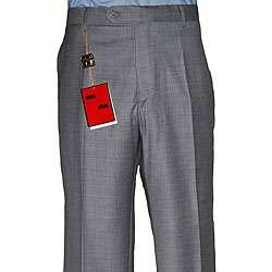 Mantoni Mens Medium Grey Flat front Wool Pants