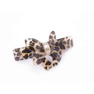 Butterfly Bow Leopard Animal Print French Barrette Hair Clip for Women