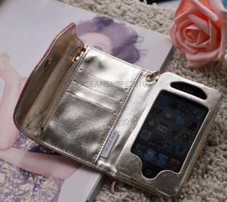Luxury iPhone Leather Wristlet Cover Case Purse Wallet for iphone 4 4S